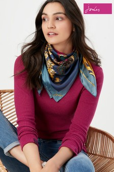 Joules Blue Bloomfield Square Silk Printed Scarf
