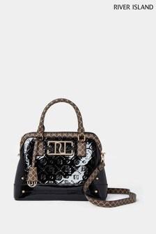 River Island Black Patent Embossed Kettle Bag