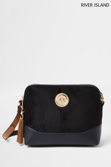 River Island Black Coin Double Compartment Bag