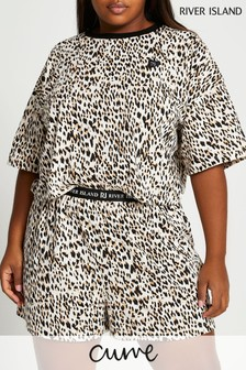 River Island Leopard Print Jersey Pyjama Set