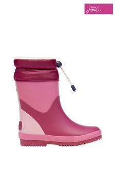 Joules Pink Wellies With Toggle Fastening