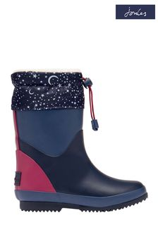 Joules Blue Wellies With Toggle Fastening