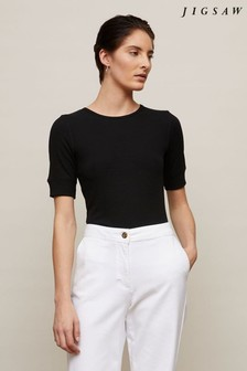 Jigsaw Bovey Ribbed Fitted T-Shirt