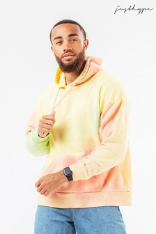 Hype Yellow Mens Oversized Candy Dye Hoodie
