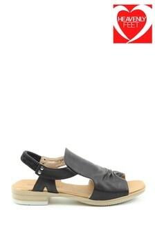 Heavenly Feet Black Low-Heeled Sling-Back Sandals