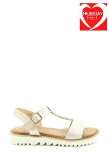 Heavenly Feet Gold Sling-Back Sandals