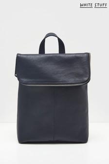White Stuff Navy Fern Leather Backpack