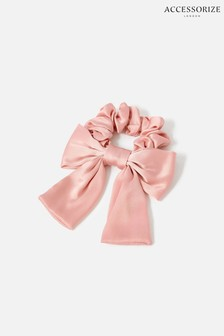 Accessorize Pink Large Silk Bow Scrunchie
