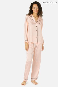 Accessorize Pink Satin Full Length Pyjama Set