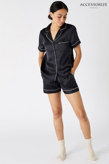 Accessorize Black Satin Shirt And Shorts PJ Set