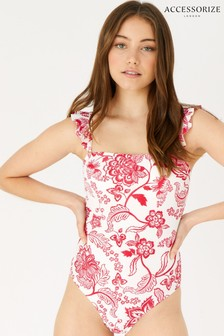 Accessorize Red Floral Frill Shoulder Swimsuit