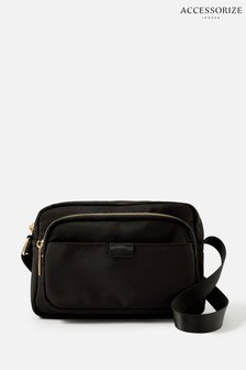 Accessorize Black Megan Large Nylon Cross-Body Bag
