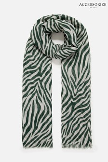 Accessorize Green Zebra Print Scarf In Recycled Polyester