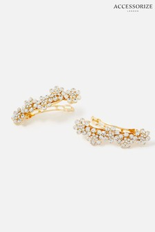 Accessorize Gold Bridal Embellished Floral Barrettes 2 Pack