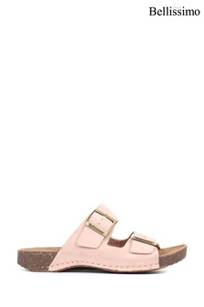 Bellissimo Ladies Pink Leather Double Buckle Mule Sandals