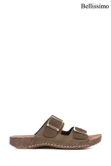 Bellissimo Ladies Green Leather Double Buckle Mule Sandals