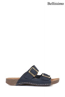 Bellissimo Ladies Leather Double Buckle Mule Sandals