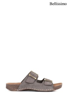 Bellissimo Ladies Grey Leather Double Buckle Mule Sandals