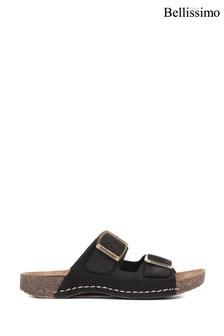 Bellissimo Ladies Black Leather Double Buckle Mule Sandals