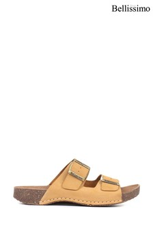 Bellissimo Ladies Yellow Leather Double Buckle Mule Sandals