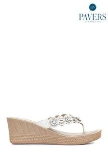Pavers Ladies Wedge Toe Post Sandals