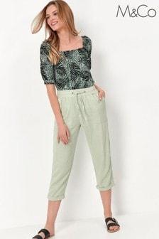 M&Co Linen Crop Trousers