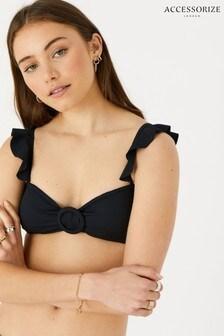 Accessorize Black Frill Shoulder Ruched Bandeau Bikini