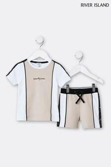 River Island Stone Blocked T-Shirt And Shorts Set