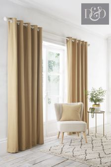 D&D Yellow Indiana Eyelet Curtains