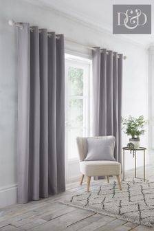 D&D Silver Indiana Eyelet Curtains