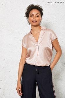 Mint Velvet Pink Silk Front V-Neck Top