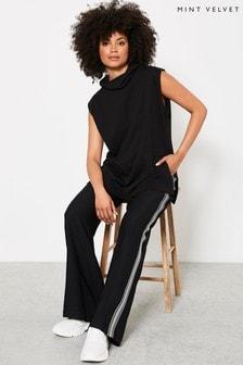 Mint Velvet Black Black Roll Neck Long Vest