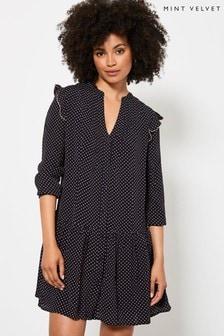 Mint Velvet Navy Spot Ruffled Mini Dress
