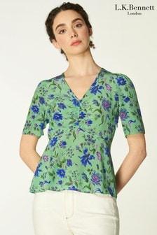 L.K.Bennett Green Gabbi Romance Floral Silk Print Top