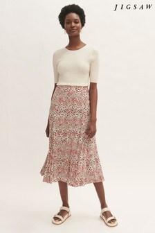 Jigsaw Leopard Meadow Midi Skirt