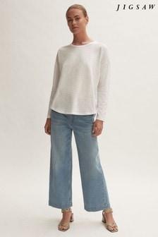 Jigsaw Cotton Slub Long Sleeve Boyfriend T-Shirt
