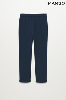 Mango Blue Cotton Jogger Style Trousers