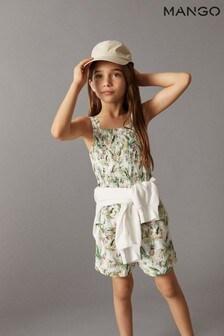 Mango White Tropical Print Shorts