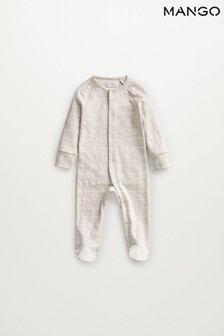 Mango Grey Cotton Printed Long Pyjamas