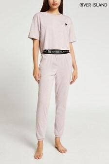 River Island Beige Crop T-Shirt and Jogger Pyjamas Set