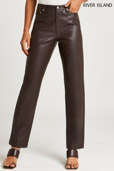 River Island Brown Dark PU Straight Leg Fitted Trousers