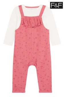 F&F Pink Terry floral Dungarees