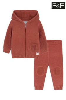 F&F Brown Ruse Waffle Knit Outfit Set