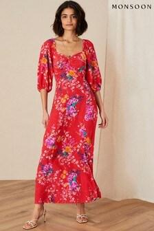 Monsoon Omi Floral Print Midi Dress