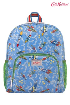 Cath Kidston Kids Blue Classic Large Backpack With Mesh Pocket Rockets