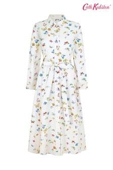 Cath Kidston Butterflies Cream Midi Shirt Dress