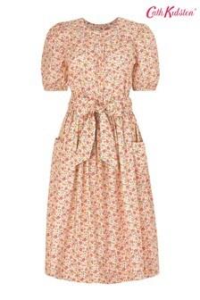 Cath Kidston Pembridge Ditsy Cream Puff Sleeve Tie Waist Midi Dress