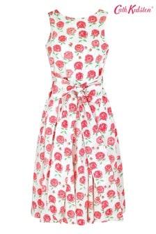 Cath Kidston Cream Tie Waist Dahlia Dress