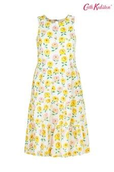 Cath Kidston Dahlia Cream Printed Tiered Skirt Dress