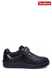 ToeZone Black Zane Football Motif School Shoes